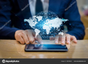 Global Communications Map Binary Smart Phones and Globe Connections Uncommon communication world Internet Businesspeople press the phone to communicate in the Internet. Space put message Blue tone